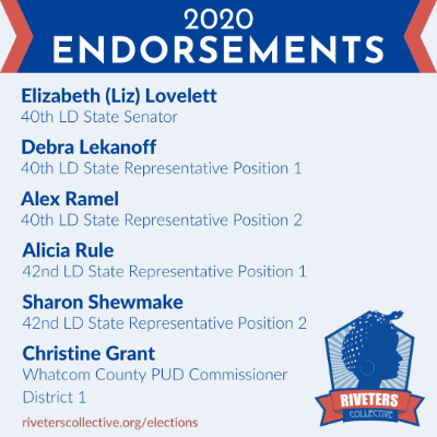 A graphic with light blue background with text in blue listing the Riveters Collective 2020 endorsements. The Riveters Collective logo is in the bottom right corner.